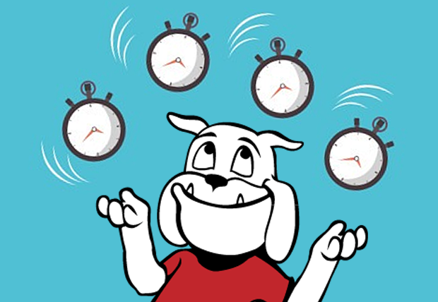 cartoon of Healthy Dawg juggling clocks set at various times